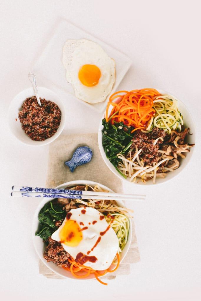 Spiralized Vegetarian Bibimbap with Quinoa