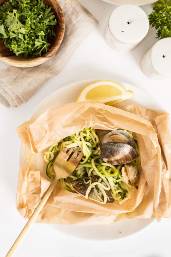Parchment Pouch Zucchini Spaghetti With Clams