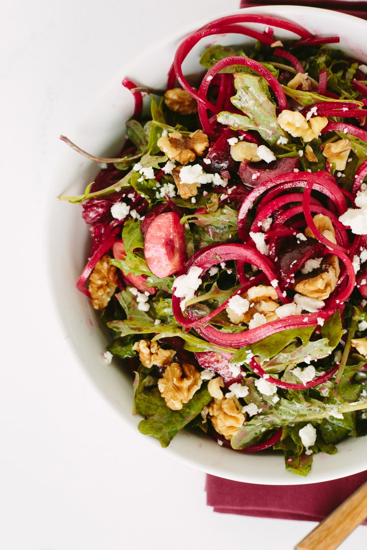 Goat Cheese, Beet Noodle and Cherry Salad