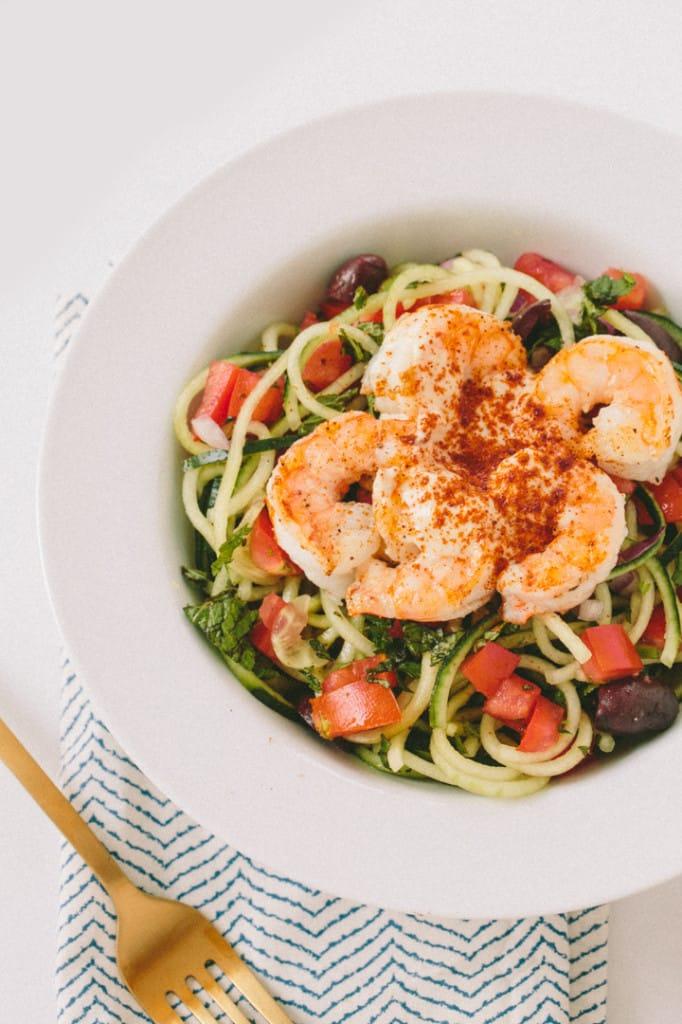 Lemon-Tahini Cucumber Noodles with Shrimp