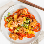 Teriyaki Pineapple Shrimp with Bell Pepper Noodles
