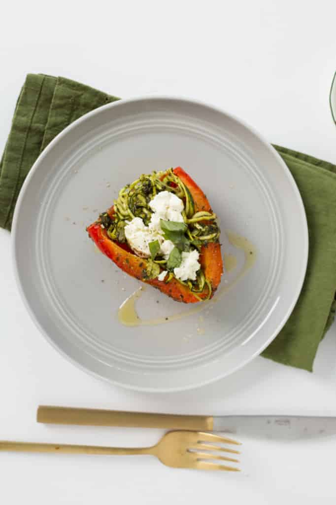 Roasted Red Peppers Stuffed with Goat Cheese, Pesto and Zucchini Noodles