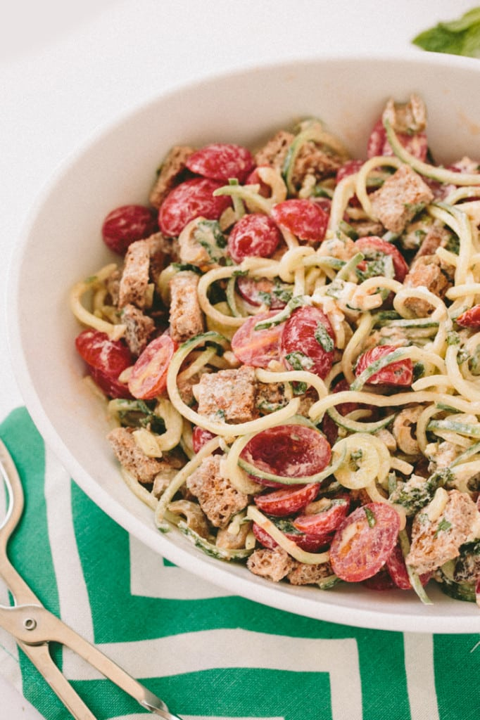 Goat Cheese Panzanella Salad with Spiralized Cucumbers