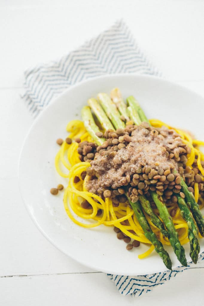 Golden Beet Pasta with Grilled Asparagus, Lentils and Roasted Garlic-Parmesan Dressing