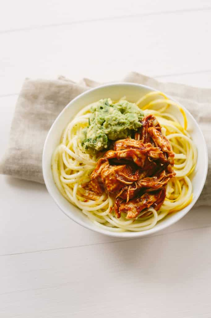 ... Shredded Chicken and Squash Noodle Bowls with Avocado-Cilantro Mash