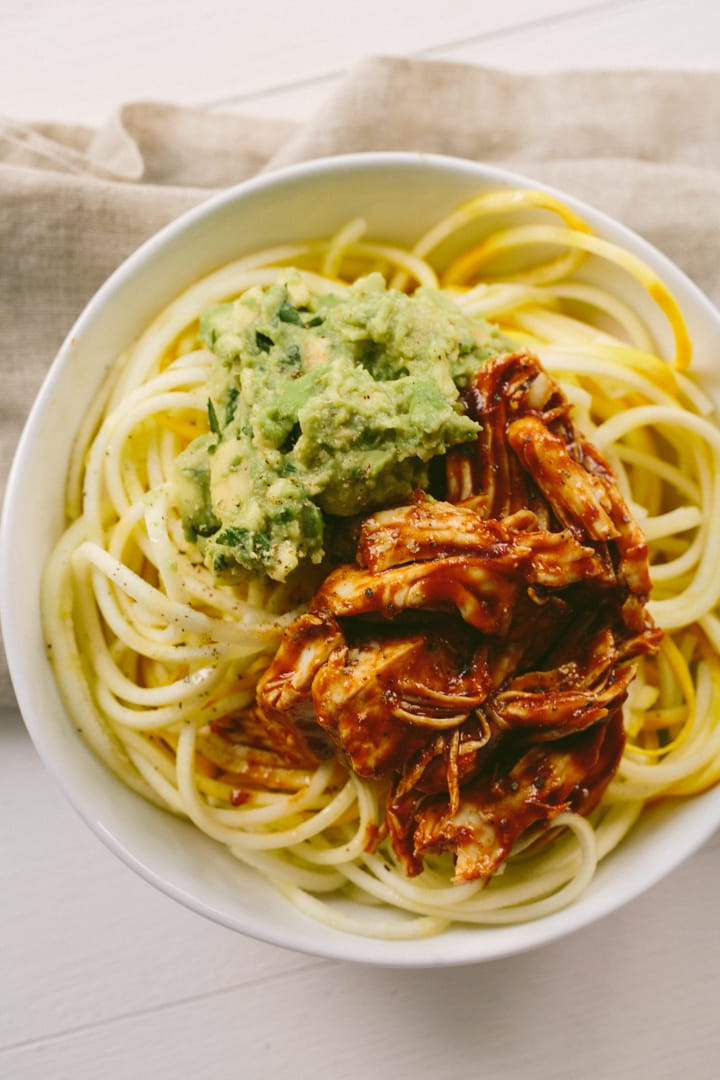 BBQ Shredded Chicken and Squash Noodle Bowls with Avocado ...