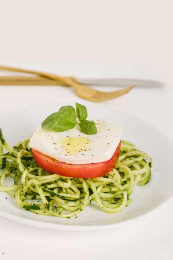 Pesto Caprese Zucchini Noodle Salad