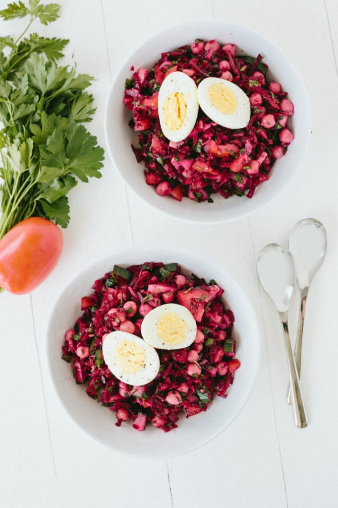 Beet Tabbouleh Salad with Egg and Chickpeas