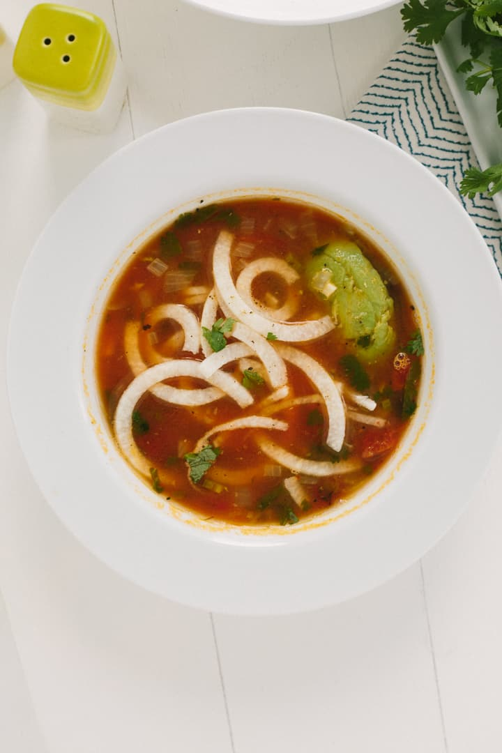 Tortilla Soup With Jicama Noodles Inspiralized