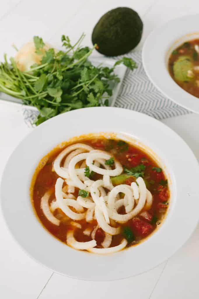 Tortilla Soup with Jicama Noodles