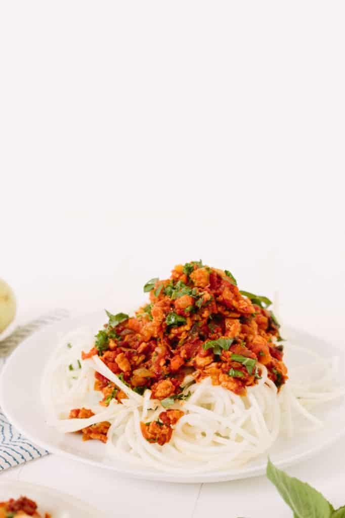 Kohlrabi Spaghetti and Kale-Mushroom Bolognese