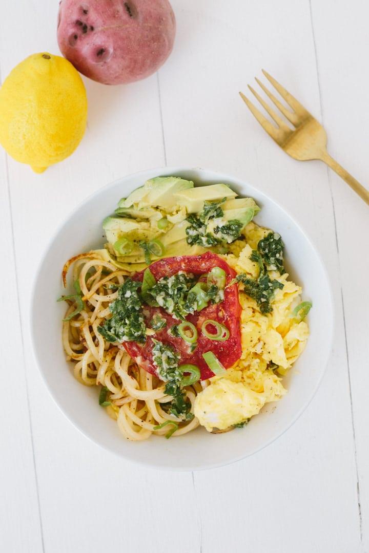 Potato Noodle Scramble Bowl with Lemon-Basil Pesto
