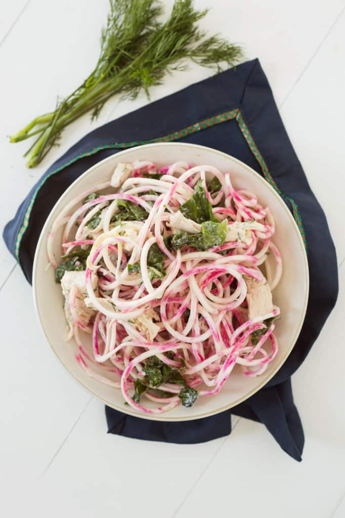 Candy Cane Beet Chicken Pasta with Yogurt-Dill Sauce