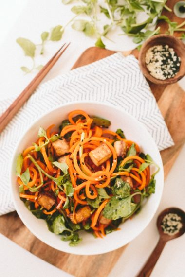 Ginger-Miso Carrots with Watercress and Baked Tofu