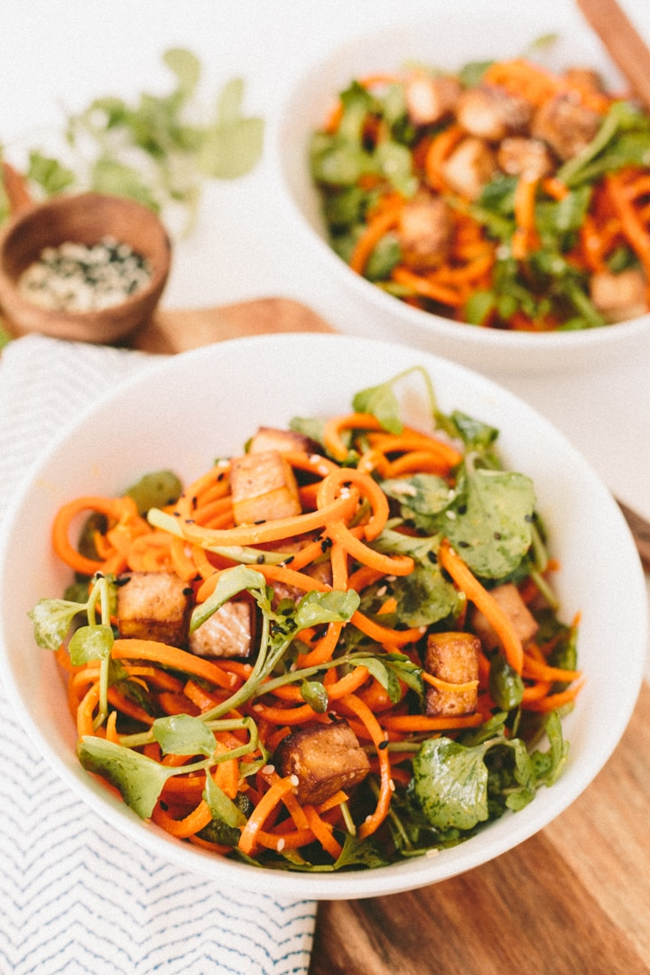 Ginger-Miso Carrots with Watercress and Baked Tofu | Inspiralized