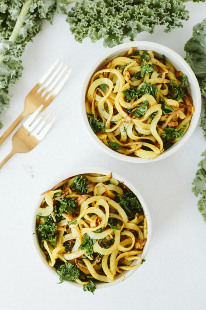 Curried Potato Noodles with Kale
