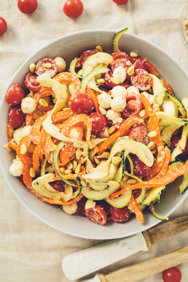 Mozzarella and Cashew-Balsamic Zucchini Noodle Salad
