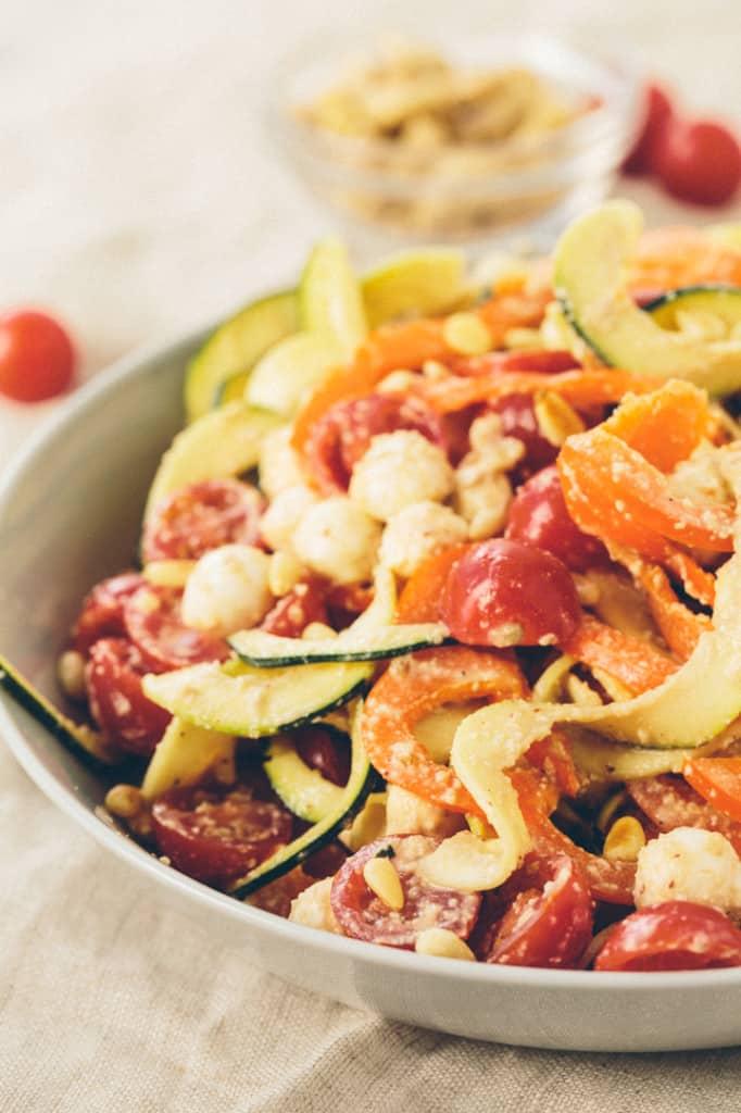 Mozzarella and Cashew-Balsamic Zucchini Noodle Salad