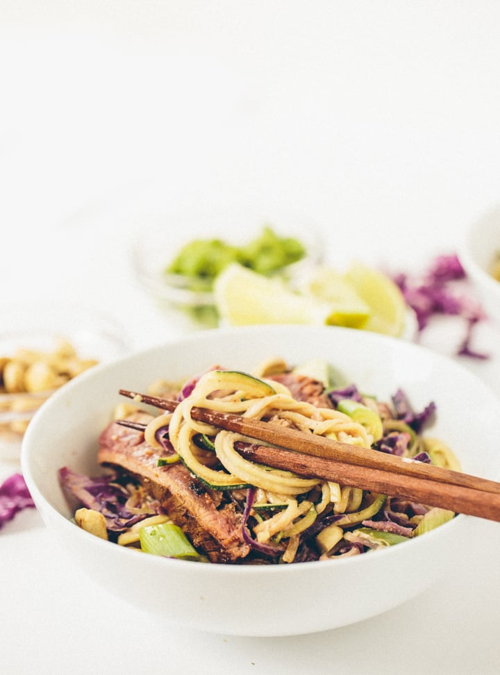 Szechuan Zucchini Noodles with Thai Ginger Steak