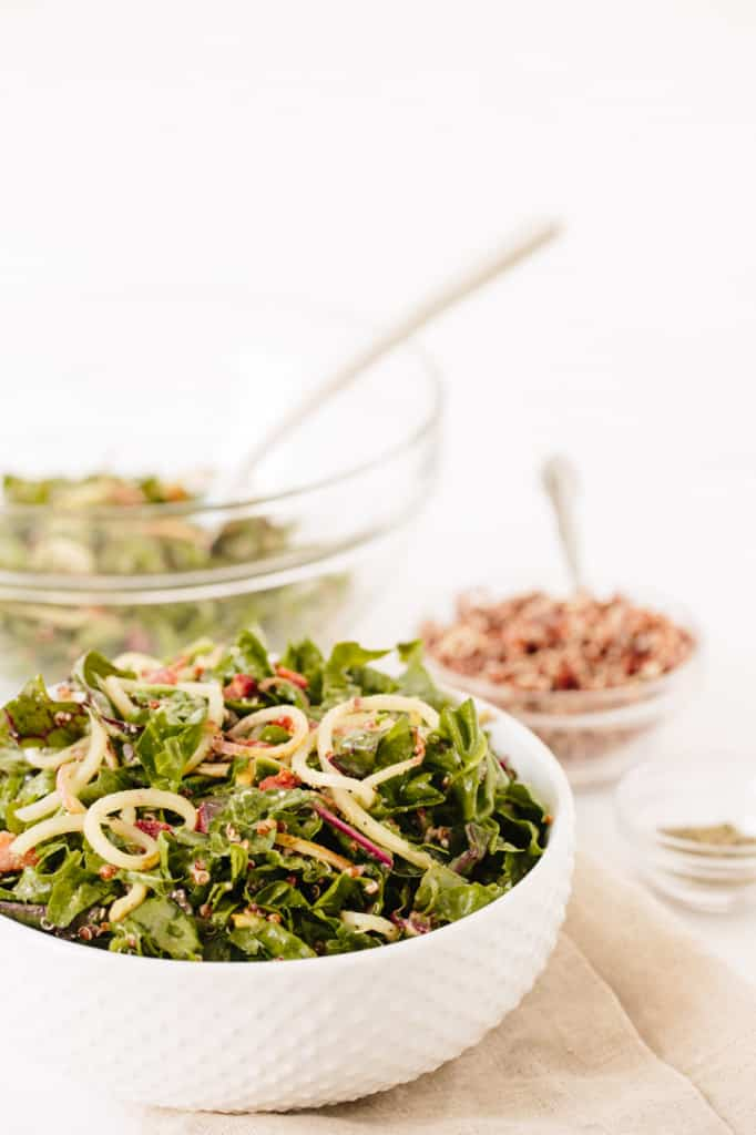 Rainbow Chard and Potato Noodle Salad with Crispy Pancetta, Quinoa and Parmesan-Oregano Vinaigrette