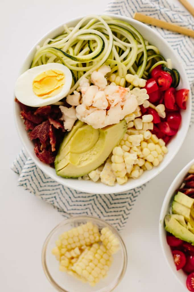 No-Lettuce Lobster Cobb Salad with Zucchini Noodles