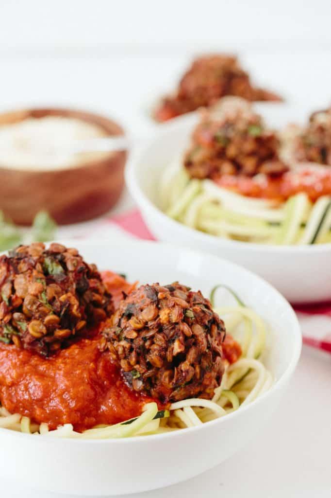Zucchini Spaghetti with Gluten-Free Vegetarian Meatballs