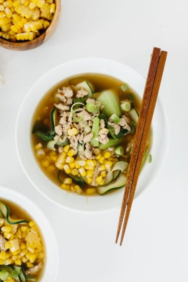 Spicy Ginger Pork and Enoki Mushroom Soup with Flat Zucchini Noodles