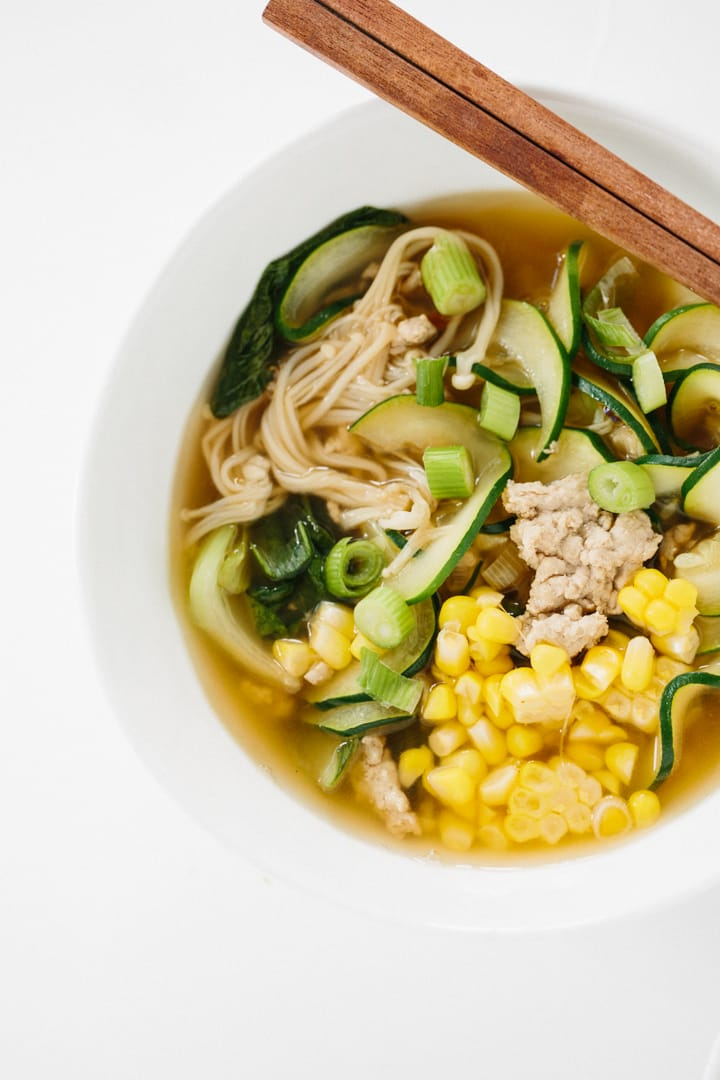 Spicy Ginger Pork and Enoki Mushroom Soup with Flat Zucchini Noodles ...