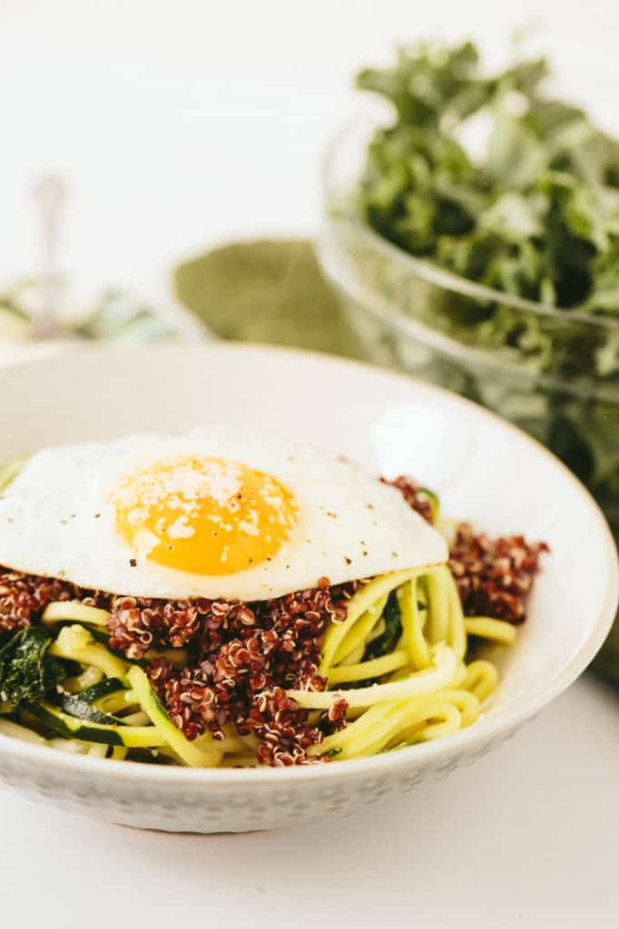 Parmesan Zucchini Pasta with Quinoa, Kale and Fried Egg