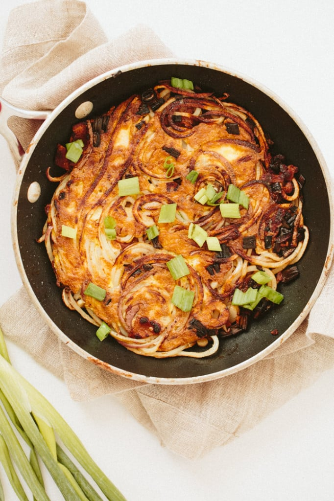 Mini Spiralized Scallion Hash Brown Cake