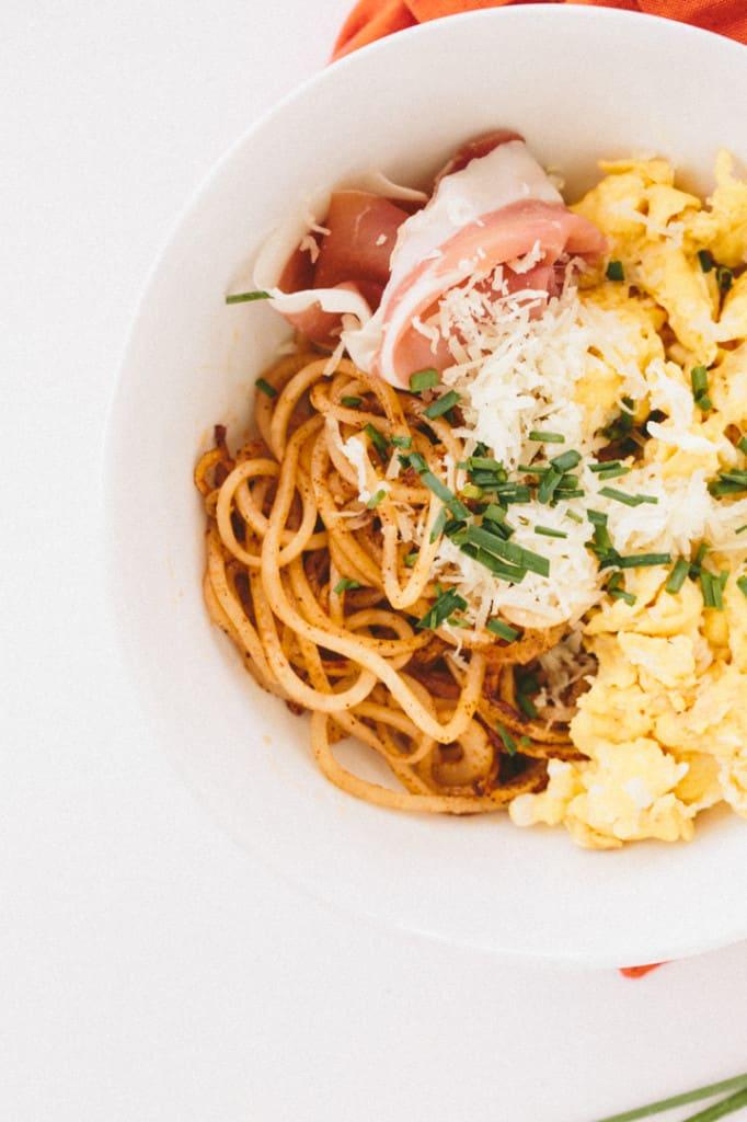 Potato Noodle Bowl with Manchego, Egg & Serrano Ham
