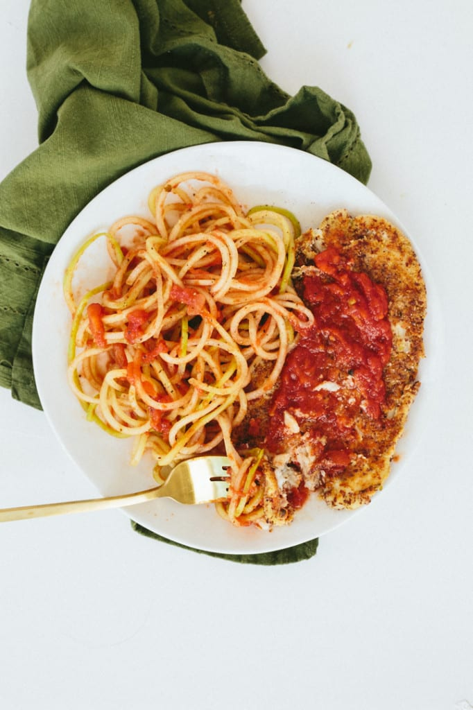 Gluten-Free Breaded Lemon Sole with Tomato Basil Chayote Pasta