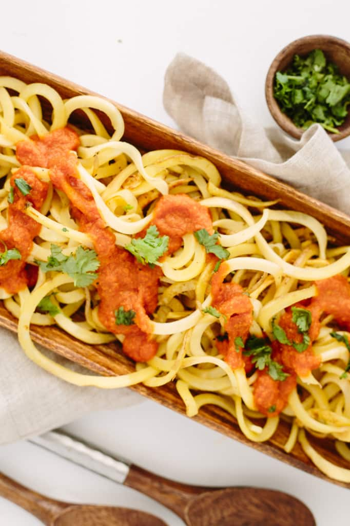 Spiralized Patatas Bravas