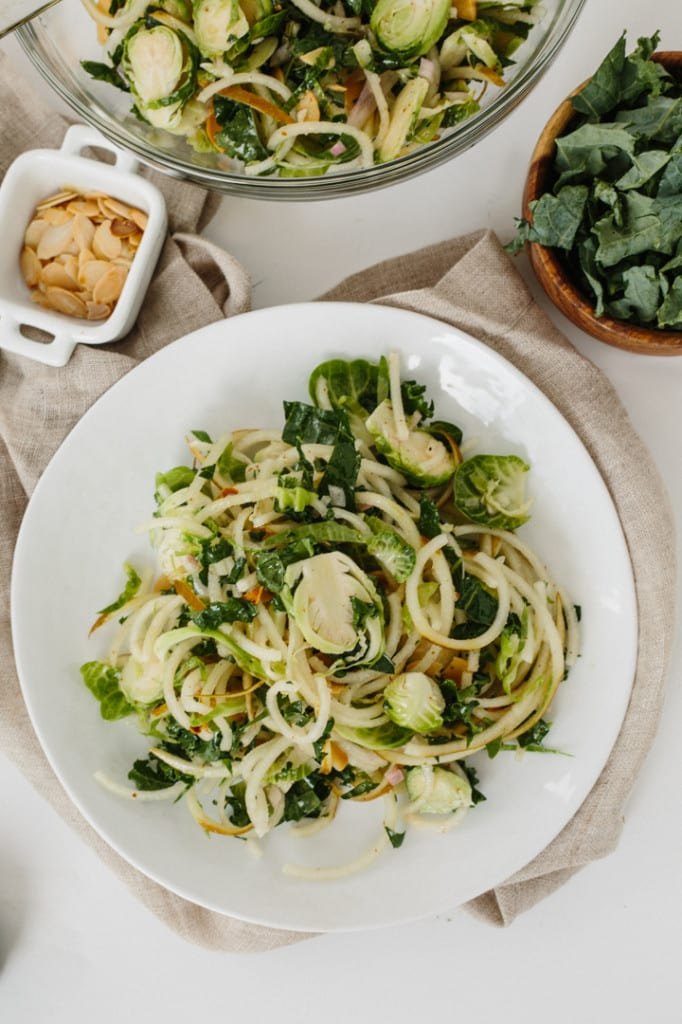 Shredded Kale, Pear Noodle and Brussels Sprouts Salad