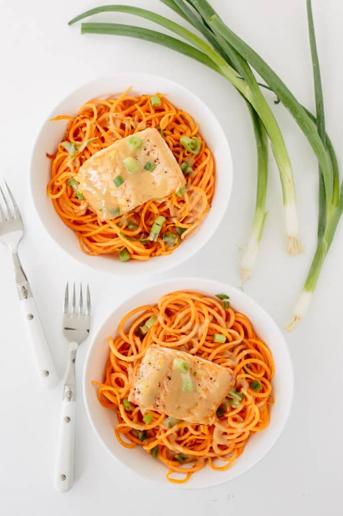 Ginger Roasted Salmon and Sweet Potato Noodles with Miso-Maple Dressing