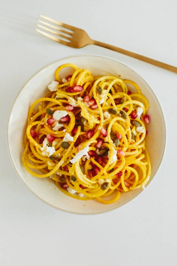 Golden Beet Noodles with Goat Cheese, Pepitas and Pomegranate