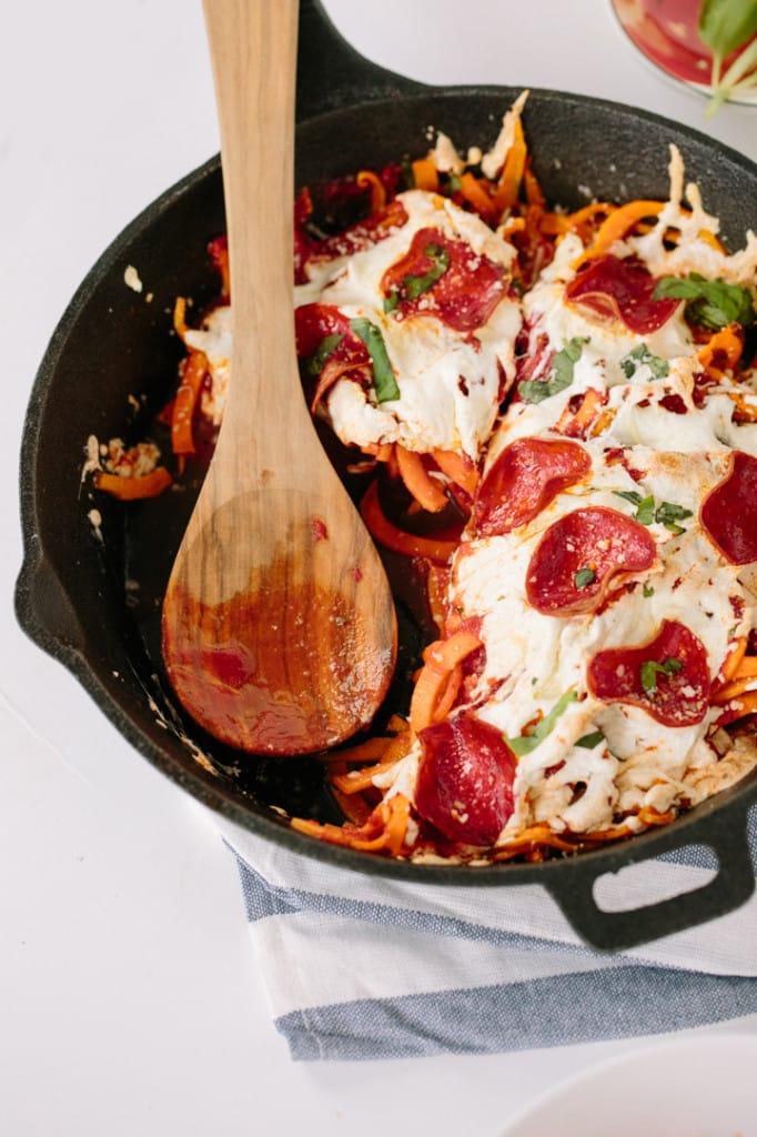 Sweet Potato Pasta Pizza Bake with Turkey Pepperoni Recipe