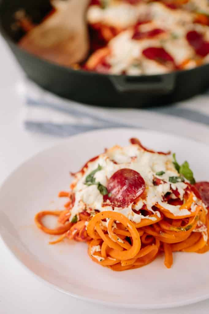Sweet Potato Pasta Pizza Bake with Turkey Pepperoni Recipe