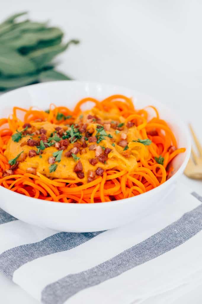 Pumpkin-Sage Alfredo Carrot Pasta with Crispy Pancetta Recipe
