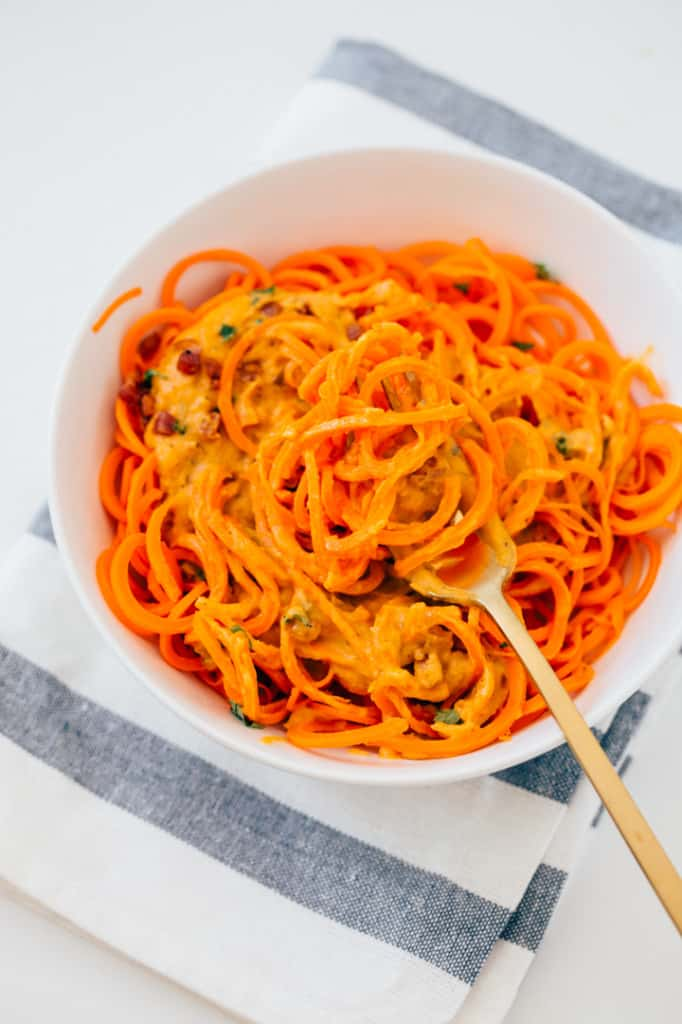 Pumpkin-Sage Alfredo Carrot Pasta with Crispy Pancetta | Inspiralized