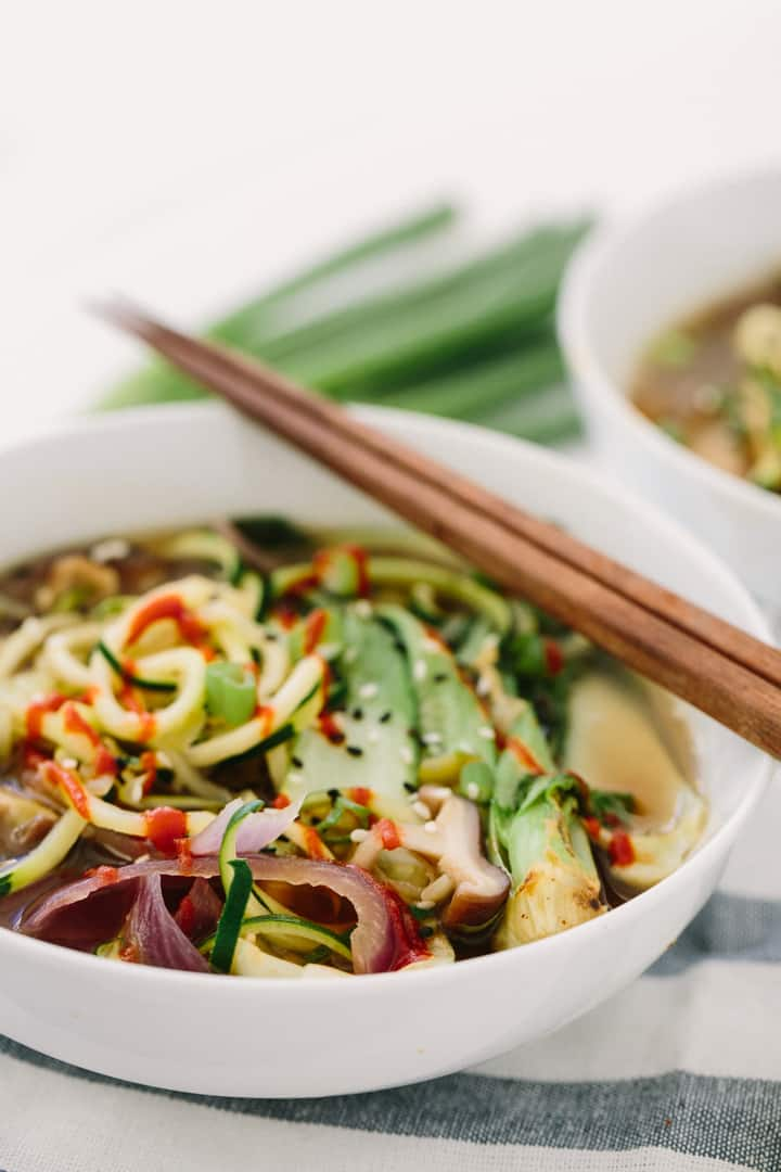 Spiralized Vegan Ramen Soup with Zucchini Noodles Recipe