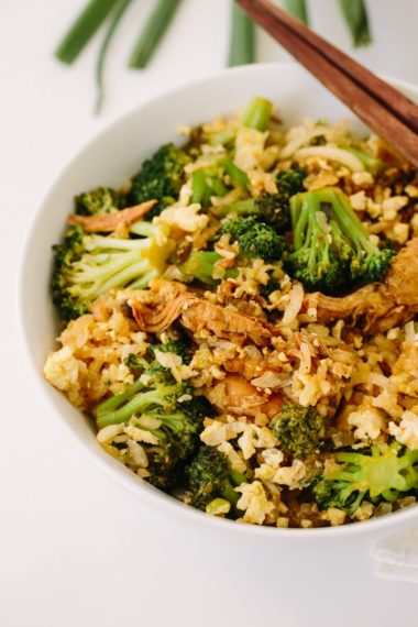 Shredded Chicken and Broccoli with Daikon Fried Rice