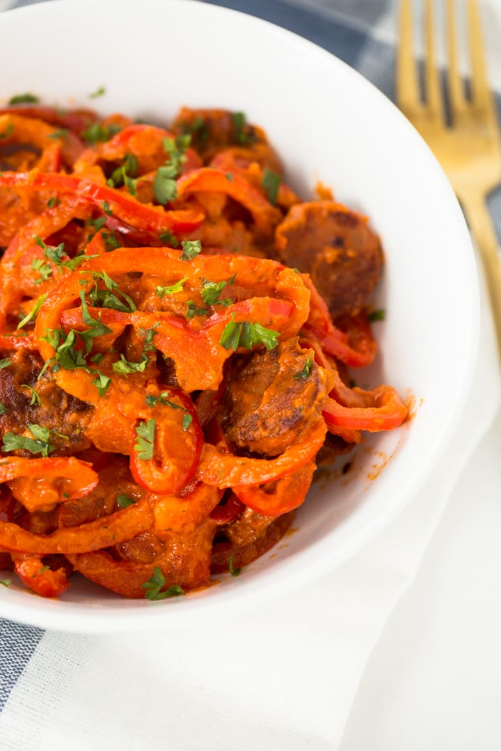Spiralized Red Bell Peppers with Sundried Tomato Cream Sauce and Andouille Sausage Recipe
