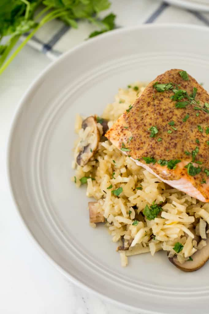 Spiralized Mushroom Turnip Risotto with Dijon-Honey Salmon Recipe