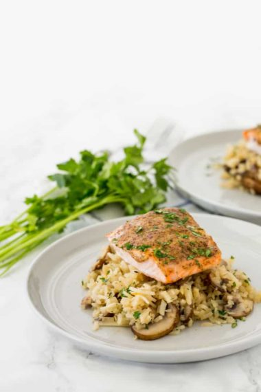 Spiralized Mushroom Turnip Risotto with Dijon-Honey Salmon