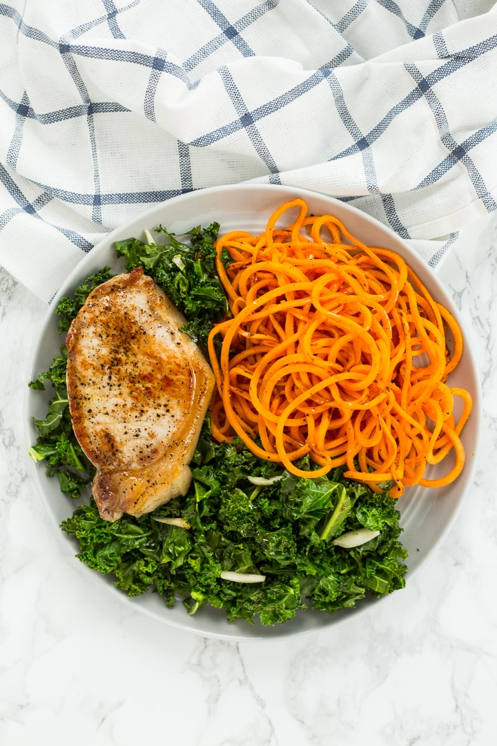 Sweet Potato Noodles with Garlic Kale and Pork Chops