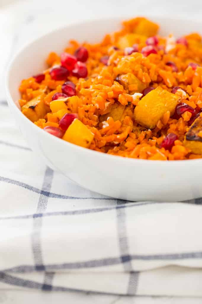 Pomegranate Sweet Potato Rice Bowls with Roasted Maple Butternut Squash and Goat Cheese Recipe