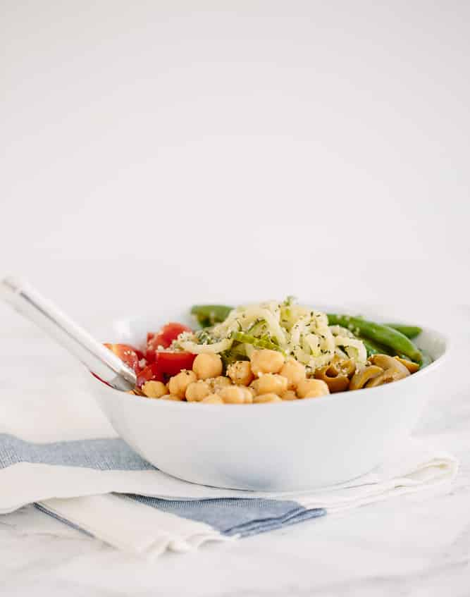 Cucumber Noodle Chickpea and Green Bean Salad with Hemp Hearts Recipe
