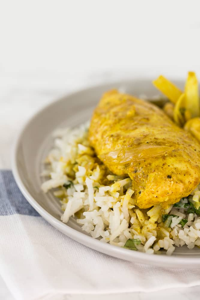 Slow Cooker Curry Cashew-Coconut Chicken with Ginger-Cilantro Turnip Rice
