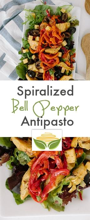 Spiralized Bell Pepper Antipasto